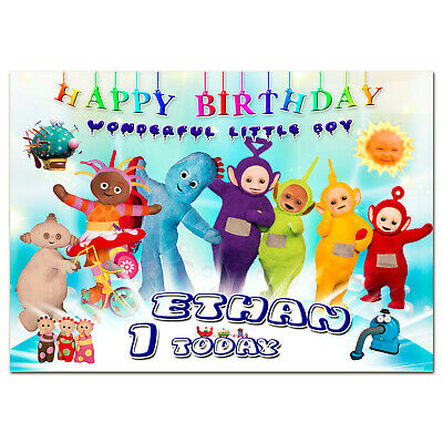 G005 Blue Large Personalised Birthday Card Teletubbies In The