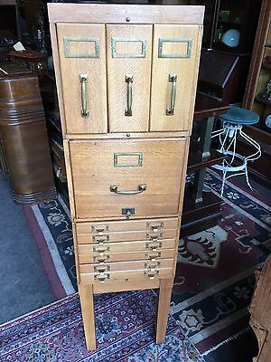 Antique Shaw Walker Stacking Oak File Card Map Barrister Cabinet Nice Old