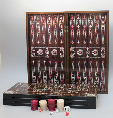 2 In1 Backgammon & Checkers/ Draught Wooden Board Game Set With Pearl Design 15""