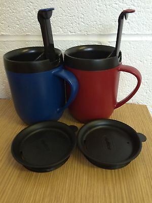 2 X Zyliss Smart Cafe One Cup Coffee Cafetiere Hot Mug Blue & Red