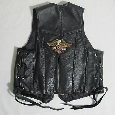 Harley Davidson Leather Vest With Side Ties Kids Size 2 Made In Hecho En Mexico