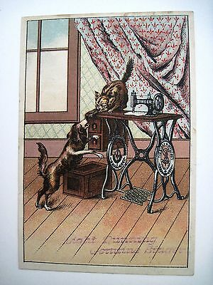 "Victorian Trade Card for ""Singer Sewing Machine Co.""  w/ Cat & Dog Playing*"
