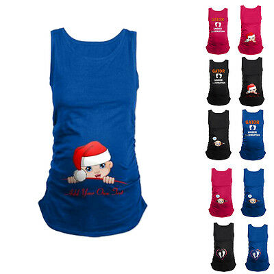 Funny-Baby-Print-Womens Maternity Pregnant Sleeveless T-shirts Loose Cotton Tops