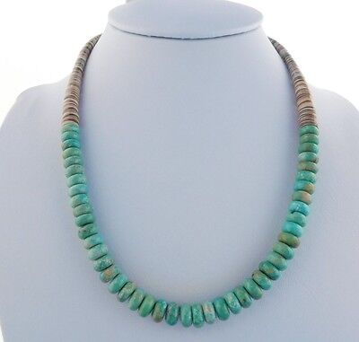 Native American Green Turquoise And Mellon Shell Bead Necklace