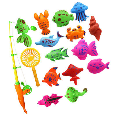 15Pcs Magnetic Fishing Toy Fish Model Set Bath Time Baby Kid Pretend Play