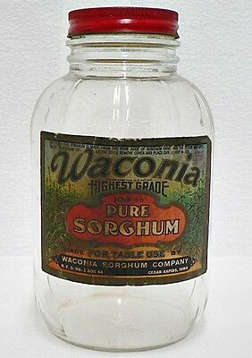 Vintage Waconia Pure Sorghum Clear Glass One Quart Jar With Paper Label