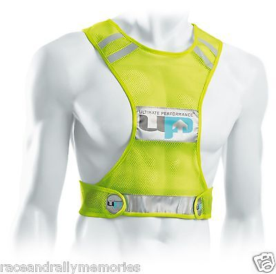 UP Hi Viz Yellow Reflective Fluorescent Road Fell Race Racing Mesh Runners Vest