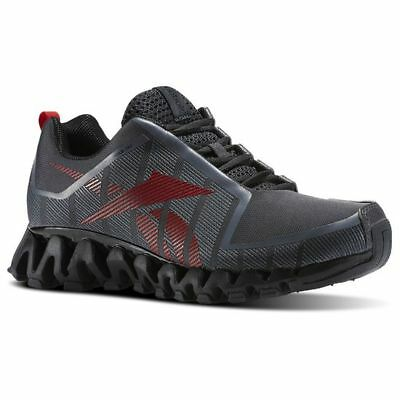 Reebok Mens Zig Wild TR2 Run Running Shoes Sneakers Ash Gray Black Red Gravel