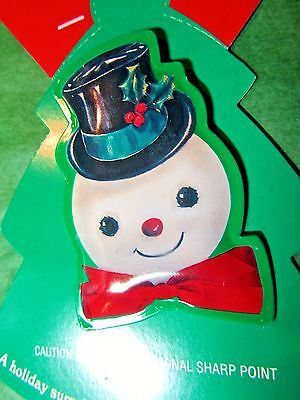 VINTAGE HALLMARK METAL SNOWMAN CHRISTMAS HOLIDAY LAPEL PIN BROOCH-CARD Lot#A156