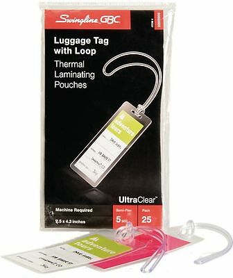 Gbc HeatSeal Pouches Luggage Tag Size 5 Mil 25 pieces - Office Supplies