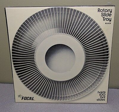 """New Focal Rotary Slide Trays Holds 100 2X2"""" Projector Slides Film Black b3"""