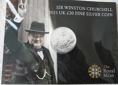 2015 Sir Winston Churchill UK Royal Mint £20 Silver Coin Great Britain Pounds