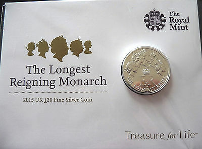 2015 The Longest Reigning Monarch UK Royal Mint £20 Silver Coin Great Britain