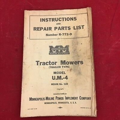 Minneapolis-Moline Instructions & Repair Parts R-772-D Tractor Mowers U.M-4