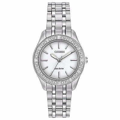 Citizen Eco-Drive Women's EM0240-56A Carina Diamond Bezel Silver-Tone 29mm Watch
