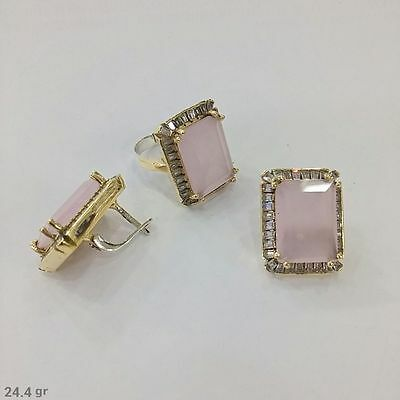 925 Silver Handmade Jewelry Fabulous Pink Chalcedony Earring And Ring Set