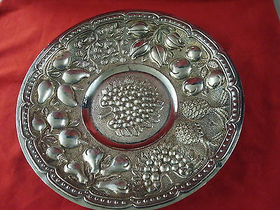 Large 900 Silver Dish With Fruit Designs In Bowl Made In Mexico