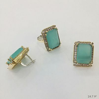 925 Silver Handmade Jewelry Fabulous Aqua Chalcedony Earring And Ring Set