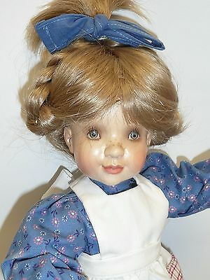 """14"""" Wood Doll Katherine by Sarah Kay for Anri, Hand Carved & Painted, from Italy"""