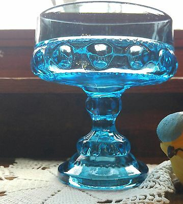 Outstandingly Beautiful Blue Pressed Glass Compote On Stand