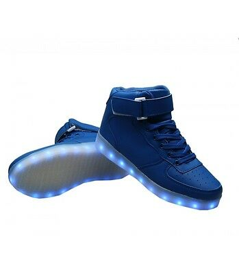 Toddlers Girl Boy Big Kids Shoe Light Up USB LED Sneakers Blue High Tops