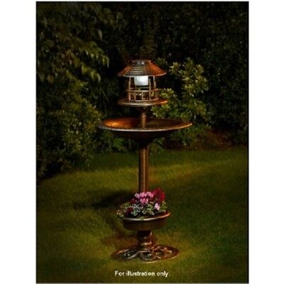 NEW 3 In 1 BIRD BATH WITH SOLAR POWERED LIGHT + PLANTER OUTDOOR GARDEN PATIO NEW