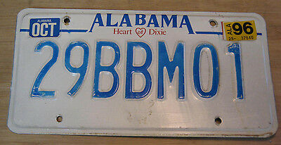 """1996 Alabama """"heart Of Dixie"""" License Plate Expired 29 Bbm 01"""