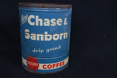 Genuine Vintage Rare Retro Kitchen Bar Pub Round Chase Sanborn Coffee Tin No Lid