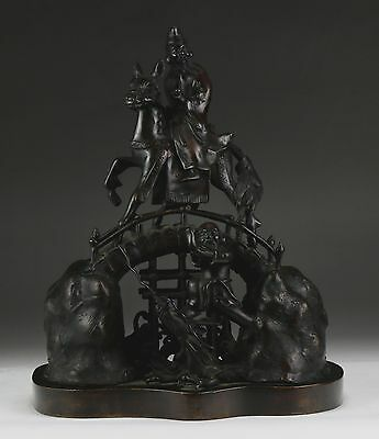 A Fine Chinese Antique Bronze Figure Group, 19Th Century