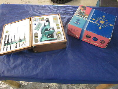 Vintage 1970 Tasco Deluxe #972 Zoom 50X to 750X Scout Microscope Kit Japan made