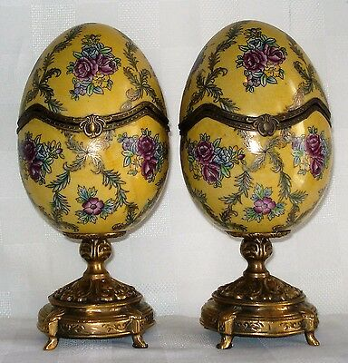 Pair Of Porcelain Eggs With Hinged Tops