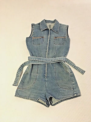 Vintage Denim Romper Jumper Playsuit - Time And Place Size S/M 80s 90s Mom Jeans