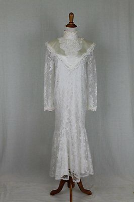 Vintage Jessica McClintock Edwardian Inspired White Lace Wedding, Prom Gown 5/6