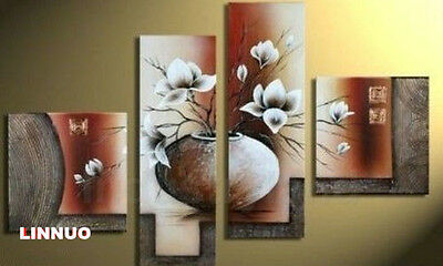 hand-p Hand painted Oil Canvas Wall Art Home Decor Abstract flowers NO Frame