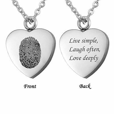 Engraved Personalized Memorial Jewelry Fingerprint Cremation Heart Urn Necklace