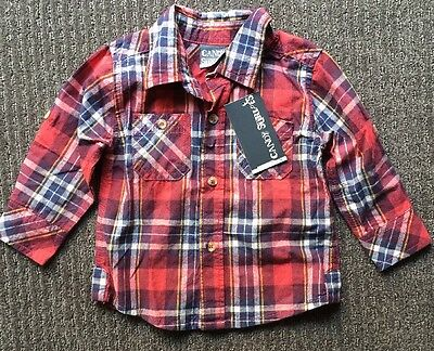 Candy Stripes Baby Boys Red/blue Check Shirt Size 0, 6-12 Months BNWT New