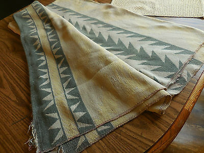 Antique Wool / Cotton Blanket South West Western Design Tan Gray Worn 65 x 70