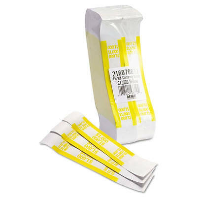 Self Sealing Currency Straps, Money Bands, $1000 Yellow, 1000 pack