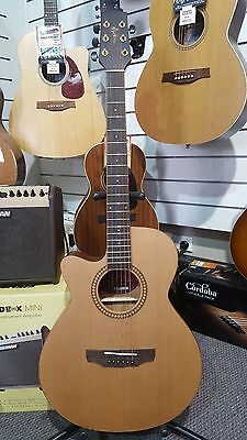 Martinez Left Handed Acoustic Electric Guitar with Solid Cedar Top and Hardcase