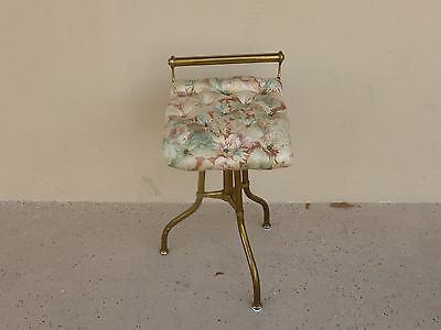 "Unusual Chic Victorian Style  Tufted Brass Stool Sold "" As Is """
