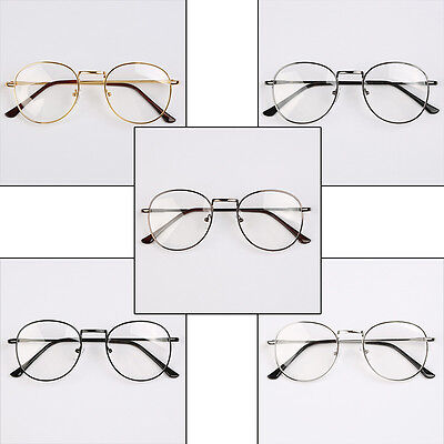 US Oval Round Metal frame Clear lens Fashion Glasses Unisex Full-Rim Spectacles
