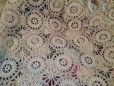 Vtg Handmade-Crochet LACE Bedspread   76 x 88   Tablecloth Coverlet Throw Shabby
