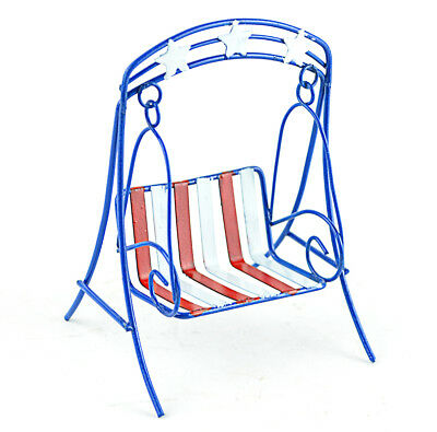 Miniature Dollhouse FAIRY GARDEN - Red, White And Blue Chair Swing - Accessories