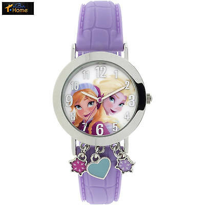 Frozen Silver Case with Dangling Charms Character-Printed Dial Analog Watch, Pin