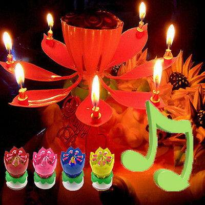 Music Lotus Flower Birthday Party Candle Blossom Magic Cake Topper New