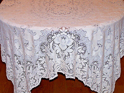 "STUNNING VINTAGE QUAKER LACE TABLECLOTH, QUAKER LOOP & TAG #4436, IVORY, 80""x56"""