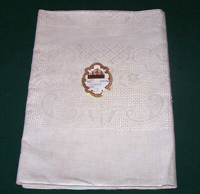 """VINTAGE DAMASK LINEN TABLECLOTH, 84"""",  4 NAPKINS, MADE in BELGIUM, NEVER USED"""