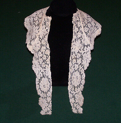 BEAUTIFUL VINTAGE ALENCON LACE COLLAR, SOFT IVORY PATINA, EDWARDIAN ERA, c1920