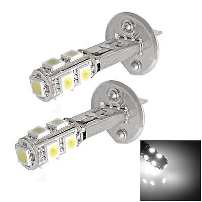 2x H1 12V 9 SMD LED PURE WHITE HID LOOK HEAD LIGHT LAMP GLOBES BULBS  - AUSPOST