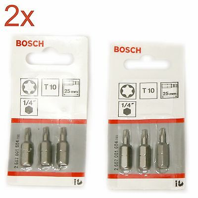 "2 Packs of Bosch 2607001604 T10 25mm 1/4"" TORX Drive Bits (3 in each pack)"